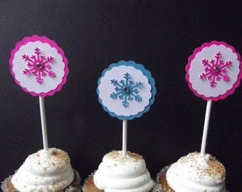Frozen Cupcake Cake Topper Pink Turquoise Frozen Snowflake Cupcake Topper Cake Pop Topper Dessert Birthday Baby Shower Table Decoration