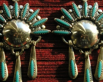 Harvey Era Southwest Sterling Silver Petit Point Turquoise Dangle Earrings