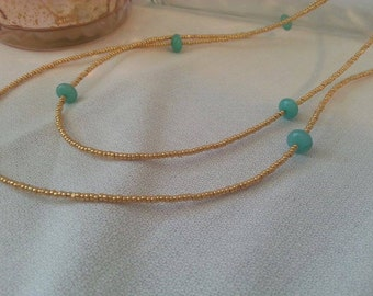 Natural Aquamarine and Gold Bead Necklace