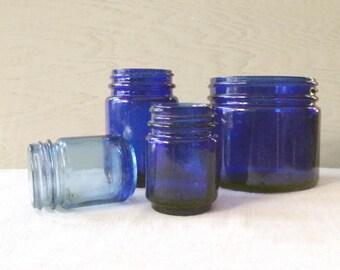 Vintage Cobalt Glass Jars Lot of 4 Vicks Noxema Medicine Jars