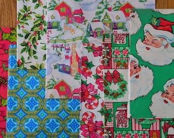 Vintage Lot of 1960s 1970s Christmas Wrapping Paper