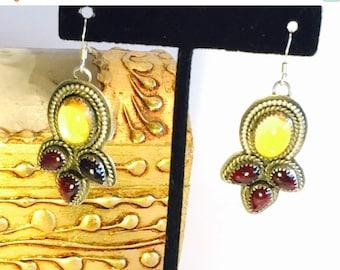 Mothers Day SALE Beautiful Designer Sterling Silver Yellow Citrine Garnet Boho Tribal Vintage Earrings Singed