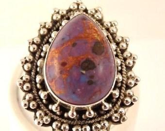 CIJ Christmas July SALE Beautiful BOHO Purple Turquoise Sterling Silver Vintage Ring