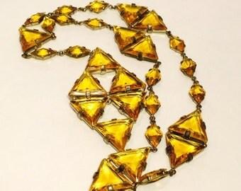 CIJ Christmas July SALE Art Deco Czech Goldtopaz Open Back Vintage Necklace Art Deco Jewelry