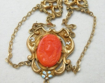 CIJ Christmas July SALE Lovely Art Nouveau Coral Glass Cameo Enamel Ornate Brass Gold Fill Vintage Necklace Art Nouveau Jewelry