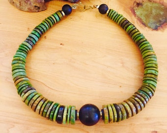 Beautiful Green Tibetan Turquoise Vintage Necklace