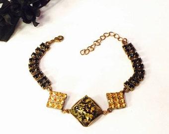 Fall into Vintage SALE Art Deco Czech Yellow Art glass Black and Gold Rhinestone Vintage Bracelet Art Deco Jewelry