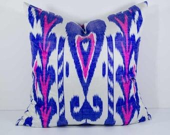 20x20 blue pink ikat pillow cover, cushion case, blue white pillows, blue pink pillows, ikat pillow case, decorative pillow, blue pink white