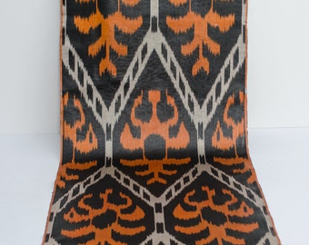 Orange and black ikat fabric by the yards, Fully handwoven, hand dyed ikat fabric