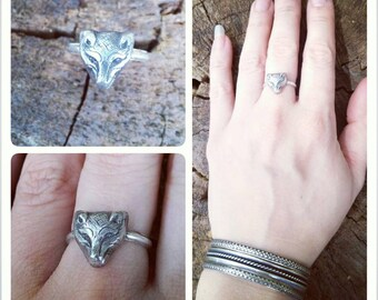 Detailed Hand Engraved Sterling Silver Boho Fox/Wolf Ring