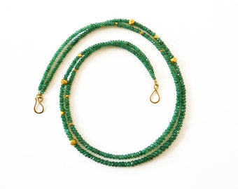 Double Strand Emerald necklace gold 18K - Handmade Fine Jewelry