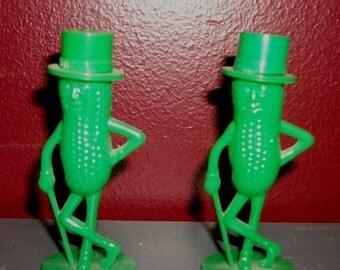 Vintage Green Mr. Peanut Salt and Pepper Shakers