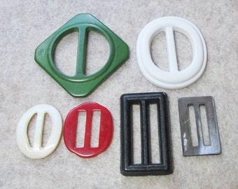 6 Vintage Scarf slides and buckles