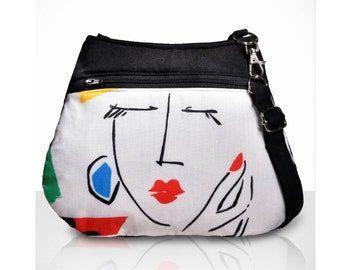 Art Bag /modern art print/Festival Purse /Unique bag / colorful bag /summer purse /Small crossbody bag / vegan purse /Item # CJF01-1003