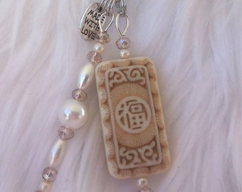 Chinese jewlery/ Asian Zipper pull/ Chinese characters tile /pearl / Swarovski beads/ elegant/ Chinese New Year Gift, RTS Item # CJF22-1038