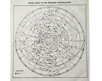 1943 SOUTHERN CONSTELLATIONS chart star map original vintage celestial astronomy print