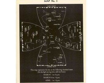1942 MARCH CONSTELLATION LITHOGRAPH star map original vintage celestial astronomy print - aires pisces