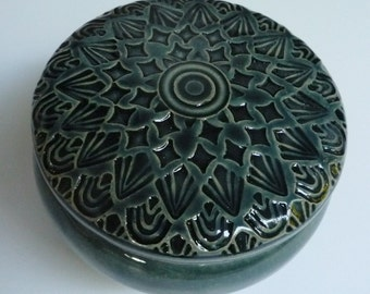 Lidded Jar Forest Green  Hand Carved Jewelry  Box One or a Kind Floral Design