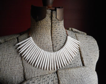 Furiosa. White Howlite Spikey Necklace. Boho Necklace. Statement Necklace . White Daggers. Spears. Talons. Warrior Bib. Breast Plate. Tribal