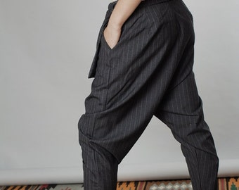 Winter Sale 15% Off!!! Black strips Harlem pants, stripes wool pants, asymmetric leather closer