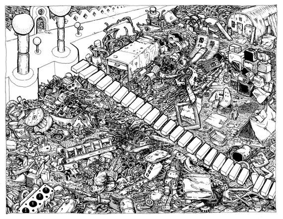 Original Art, Anthropocene Pen and Ink Drawing
