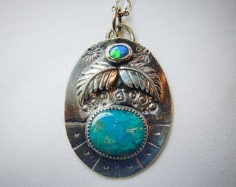 Australian Opal and Blue Opal Gemstone Native American Inspired Necklace Set In Sterling Silver