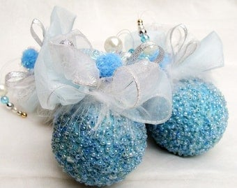 Blue Christmas Ornaments, Blue Beaded Christmas Decoration, Set of 4, Beaded Ornaments, Christmas Bauble, Baby Blue Ornament