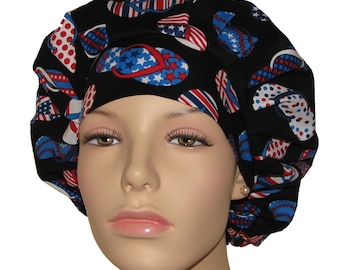 Scrub Hats - All American Patriotic Flip Flops Red White and Blue