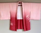 1950s HAORI KIMONO Japanese Cropped Jacket BOHO Pink Sunrise