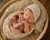 TAN beige Mohair Wrap Newborn Photography Prop Wool Knit Blanket Unisex baby boy girl