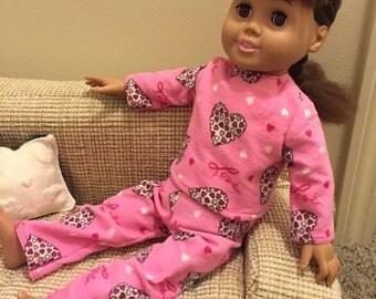 "Valentine's flannel pajamas for 18"" dolls"