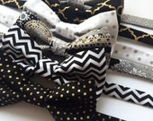 Little and Big Guy BOW TIE - Limited Edition: Black Gold and Silver Holiday Collection - (Newborn-Adult) - Baby Boy Toddler Teen Man