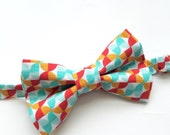 Little Guy Holiday CHRISTMAS Bow Tie - Red Teal Geometric (3T - 6 years) - Boy Toddler- (Ready to Ship) - Photo Prop