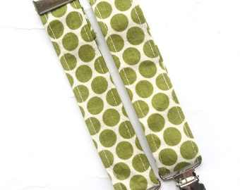 Little Guy SUSPENDERS - Olive Polka Dot - (Ready to Ship) - Baby Boy Toddler - Christmas