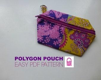 PDF PATTERN - 3 Easy Zipper Pouch Wristlets - Polygon Pouch - Phone Case - Gadget Keeper - Make Up Bag