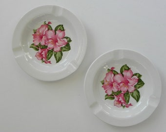 Greenbrier Resort Mayer China Ash Tray. Dorothy Draper Rhododendron Pattern Design Ashtray.