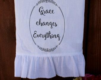 Inspirational, Shabby CHic, Cottage, Farmhouse Tea Towel, Flour Sack Towel, Kitchen Decor (GCE) Ruffle