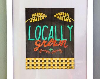 Farmer's Market Art Print, Printable Wall Art, Country Art Print, Kitchen Wall Decor, Chalkboard art print, Digital Download, Typography