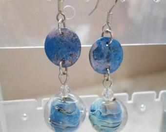 Lampwork Earrings, Handmade Enamel Dangle Earrings, Iridescent Handmade Jewelry, Handmade Glass Jewelry Gift for Her