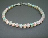 Opal Bracelet, Faceted Rondelle Ethiopian Opal Bracelet, Pink, Blue and Green Fire Opals and Sterling Silver Bracelet, OOAK Opal Jewelry