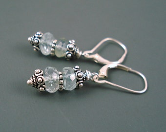 Aquamarine Earrings, Aquamarine Large Rondelles and  Sterling Silver Beads