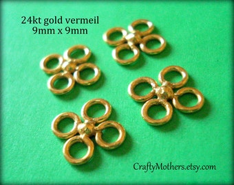 Use TAKE10 for 10% off! FOUR Bali 24kt Gold Vermeil Clover Links, 9mm, Artisan-made supplies, precious metal, necklace, earrings, bracelet