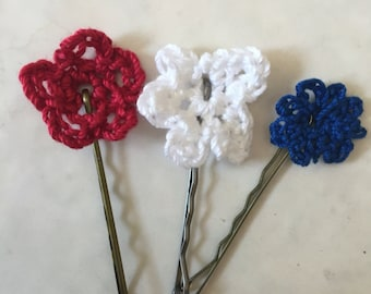 Hair Pins Red White and Blue