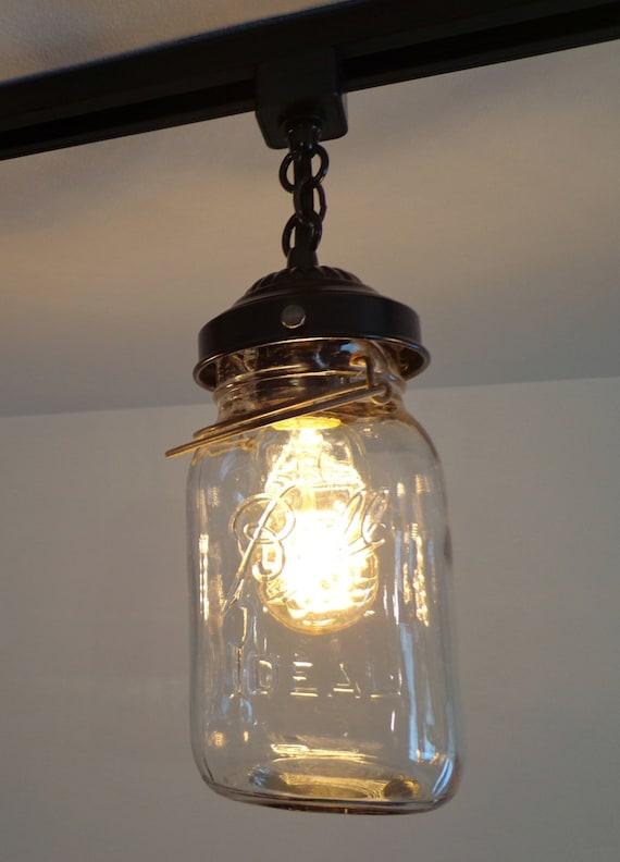 Mason Jar Flush Mount Light Part - 39: Mason Jar TRACK LIGHTING Fixture Trio With Vintage Quarts - Chandelier  Ceiling Pendant Light Flush Mount Kitchen Farmhouse Fan By Lamp Goods