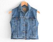 Levis Vest Levis Denim Vest Levis Jean Vest Levis Vest Boyfriend Jean Denim Levis Vest Levi Denim Vest Blue Jean Vest XS S Small