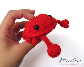 MADE to ORDER - Amigurumi Crab - cute crochet crab softie, red crab crustacean toy, crochet animal plush, amigurumi toy