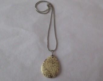 White Turquoise Teardrop Pendant Necklace