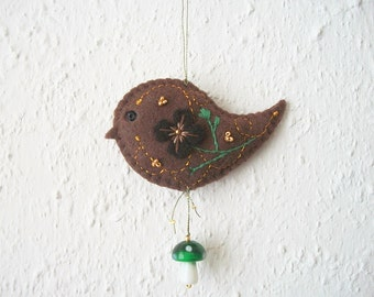 Felt Ornament Brown Bird Tree or Wall Hanging with Lampwork Mushroom Bead Hand Embroidered Handsewn
