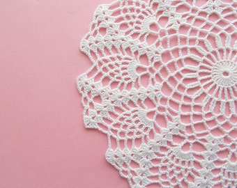 Crochet Doily White Cotton Lace Table Topper Heirloom Quality
