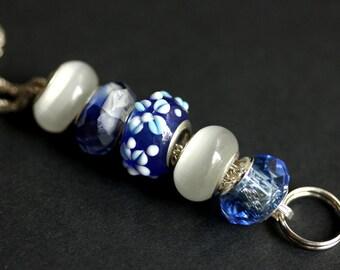 Beaded Lanyard. Cobalt Blue Lanyard. Flower Lanyard. Blue Badge Lanyard. Id Lanyard. Badge Holder. Blue Badge Necklace. Handmade Lanyard.